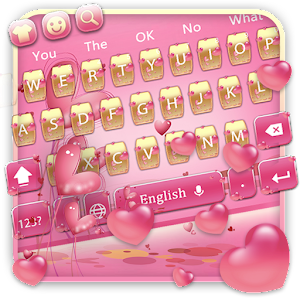 Pink lovely gold💗pink love sweet glimmer keyboard