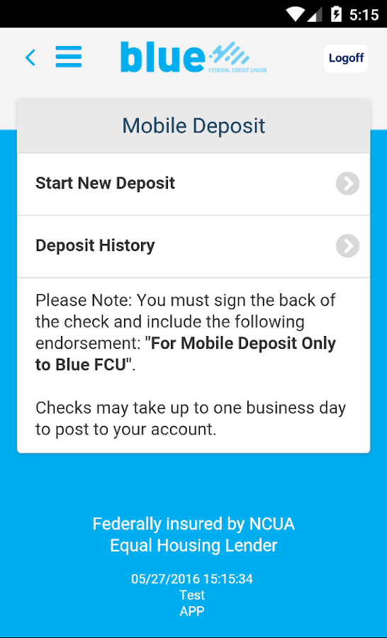 Blue Federal Credit Union- screenshot