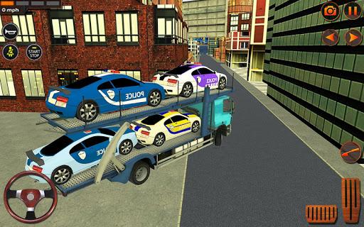 City Police Car Transporter Truck: Trailer Driving apktram screenshots 3