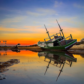Blue Orange by Sonny Saban - Transportation Boats ( rote, nature, sunsets, indonesia, landscape )