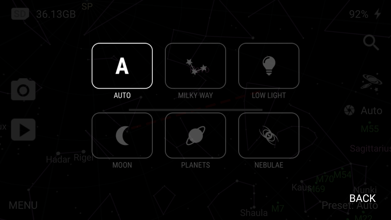 Tiny1 Astronomy Camera Demo- screenshot