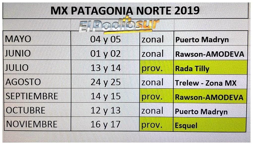 ¡Ya está el calendario del MX Patagonia Zona Norte!