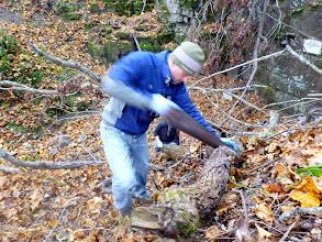 Photo: Bill sawing
