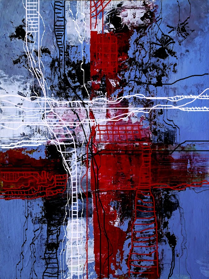 The Way To Redemption by Jasna Dragun - Painting All Painting ( red, blue, white, painting, acrylic, abstract, digital art )