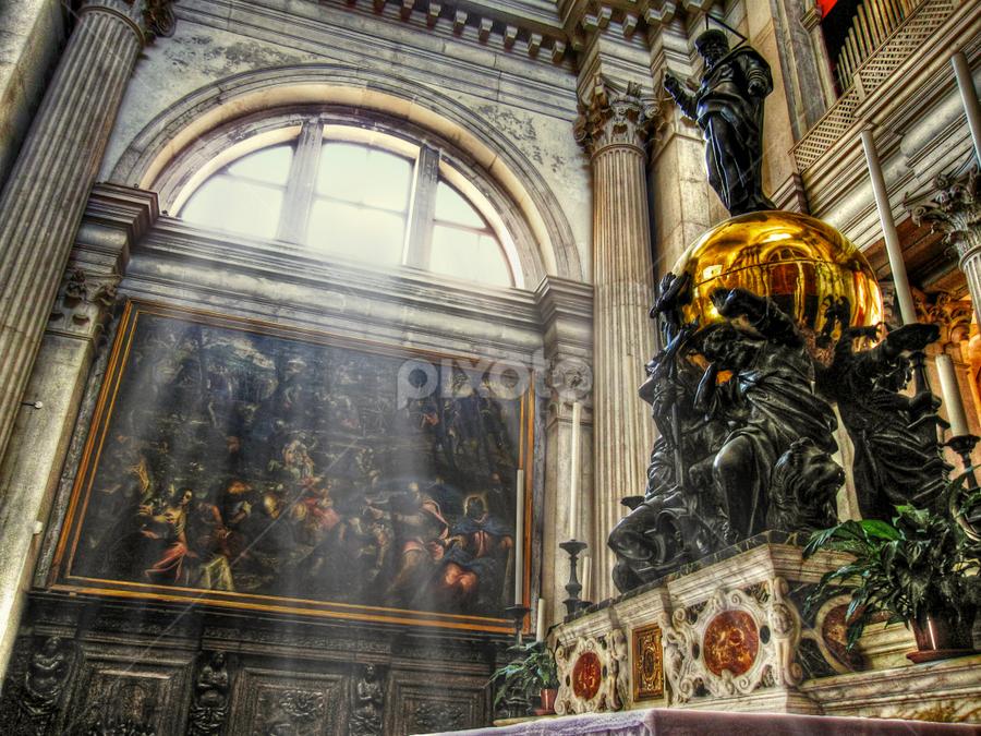 Church of S. Giorgio Maggiore by Andrea Conti - Buildings & Architecture Other Interior ( venezia, interior, altar, church, venic, ray of light, s. giorgio maggiore, italy, building, worship )