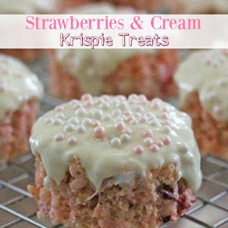Strawberries And Cream Krispie Treats