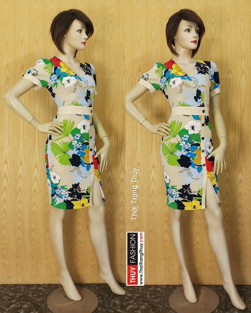 Váy hoa xẻ tà kiểu công sở và dạo phố V615 Thời Trang Thủy Hải Phòng