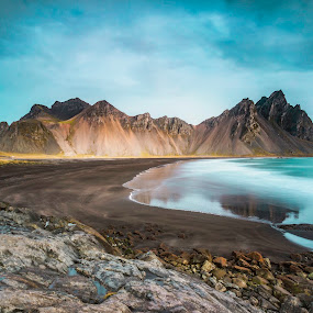 Majestic Vestrahorn by Rashid Ramdan - Landscapes Mountains & Hills ( iceland, stokksnes, verstrahorn, beach, travel, longexposure )