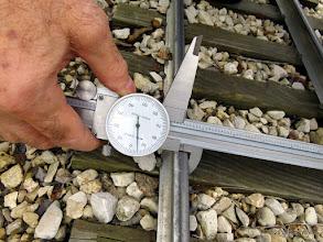 "Photo: George Leventon doing track gauge measurements.  7.595""   HALS Work Day 2015-0411 RPW"