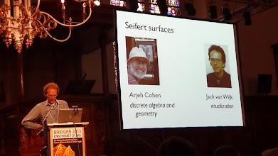 Photo: Arjeh Cohen asked his student Jarke J. van Wijk to make a visualizing program for Seifert surfaces.