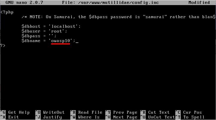 Mutillidae database error - Edit Mutillidae config.inc on Metasploitable 2. Source: nudesystems.com