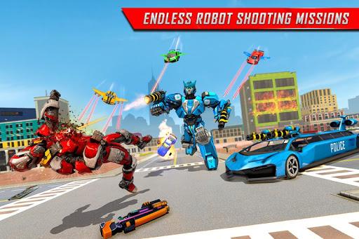 Flying Limo Robot Car Transform: Police Robot Game screenshots 4