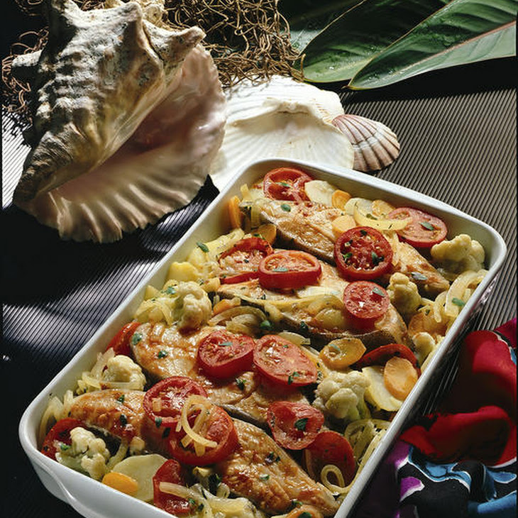 Baked Halibut and Veggies
