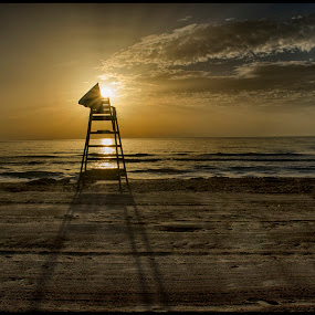 Lifeguard Tower at sunrise by Brian Rogers - Landscapes Sunsets & Sunrises ( water, sunrises, hdr, seascapes, dramatic, ocean view )