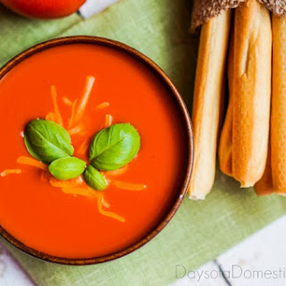 Fresh Tomato Soup Paired with Parmesan Croutons