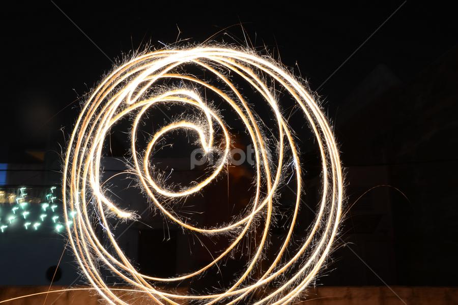 Circles by Rakesh Sharma - Abstract Light Painting ( circles, making circle from sparkles, light painting diwali festival, pwc circle fire painting )