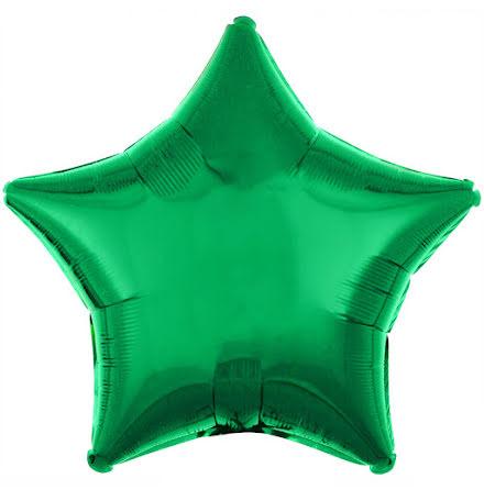 Folieballong, stjärna metallic grön 48 cm