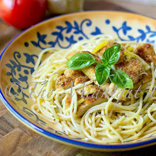 Parmesan Crusted Chicken with Lemon Basil Pasta