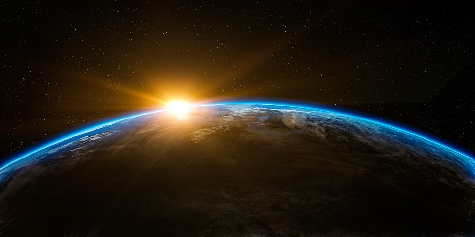 Sunrise, Space, Outer, Globe, World, Earth, Sun, Rise