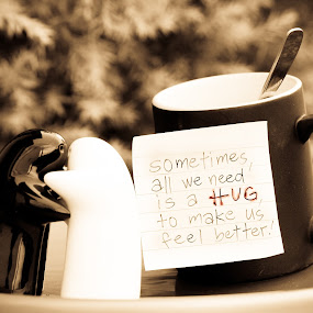 All You Need Is Hug... by Bong Flores - Artistic Objects Cups, Plates & Utensils ( salt & pepper dispenser, cup, hug )