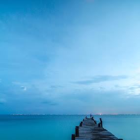 Ocean Jetty by Glenn Angel - Landscapes Waterscapes ( mexico, ocean, jetty, isla mujeres, dock )