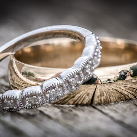 Reflection of Bride and Groom in the ring by Jamie Ledwith - Wedding Bride & Groom ( jewelry, macro, wedding photography, wedding photographer, reflection, ring, reflections, weddings, rings, macro photography, wedding jewelry, wedding, wedding rings )