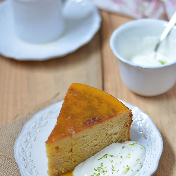 Cake with Lime and Passion Fruit Syrup