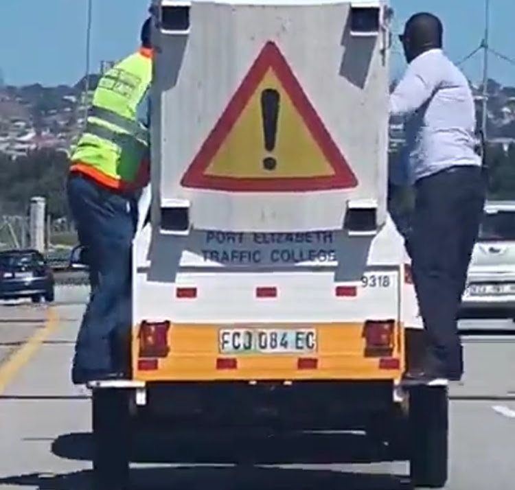 Nelson Mandela Bay traffic officials captured riding on a modified trailer on the M4