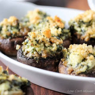 Two-Bite Spinach Artichoke Stuffed Mushrooms.