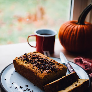 Gluten Free Pumpkin Bread with Cacao Nibs (Dairy Free, Vegan Option).
