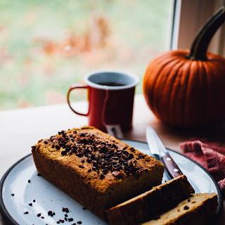 Gluten Free Pumpkin Bread with Cacao Nibs (Dairy Free, Vegan Option).