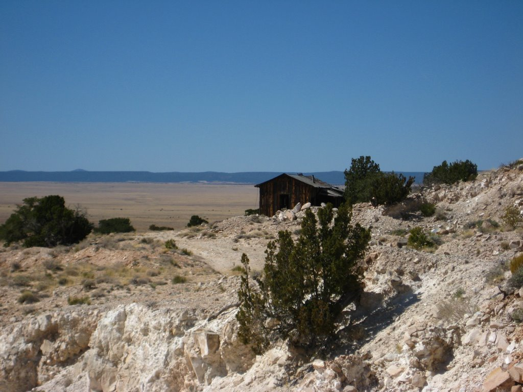 Photo: More of Barringer's mine buildings, and rockflour in the foreground.