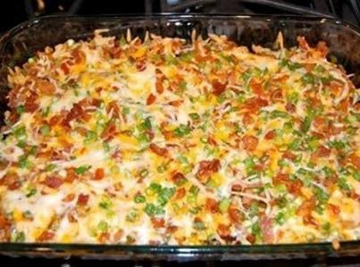 .   LOADED BAKED POTATO AND CHICKEN CASSEROLE   Ingredients:  2 lbs chicken breast  8 potatoes...  1/3...