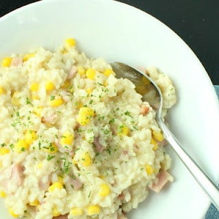 One Pan Creamy Ham and Corn Risotto.