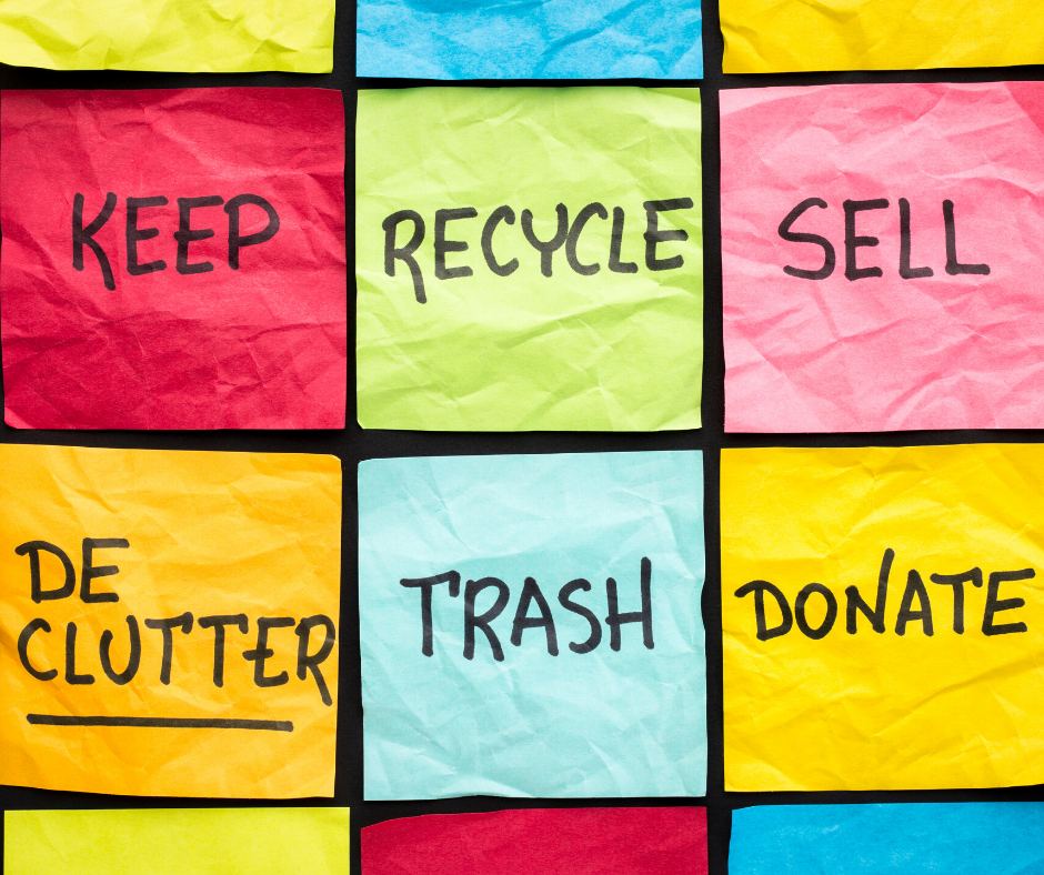Keep, Recycle, Sell, DeClutter, Trash, and Donate are key components of downsizing your home.