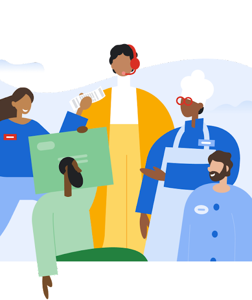 An illustration of a group of diverse people, representing different jobs from chef to retail worker.