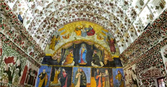 Restored mural paintings in St Mary's Orthodox Syrian Church