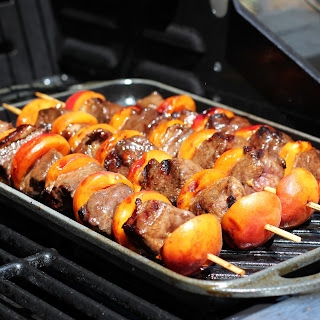 Duck Breast Kebabs with Apricots.