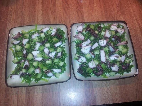 Plate your Wakame Salad, divided between 2-4 appt Sliced desired amount of grilled octopus, add...