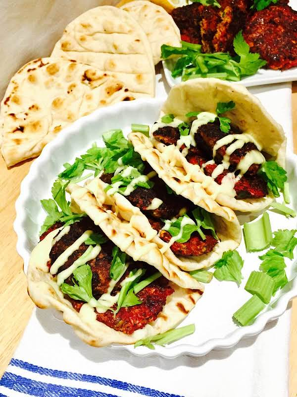 Beetroot And Halloumi Cheese Burgers On Flat Bread Recipe
