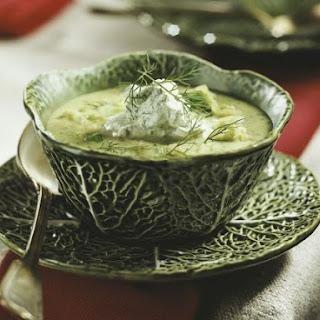 Green Cabbage Bisque with Herb Garnish.