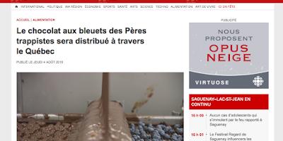 Le chocolat aux bleuets des Pères trappistes sera distribué à travers le Québec Radio-Canada