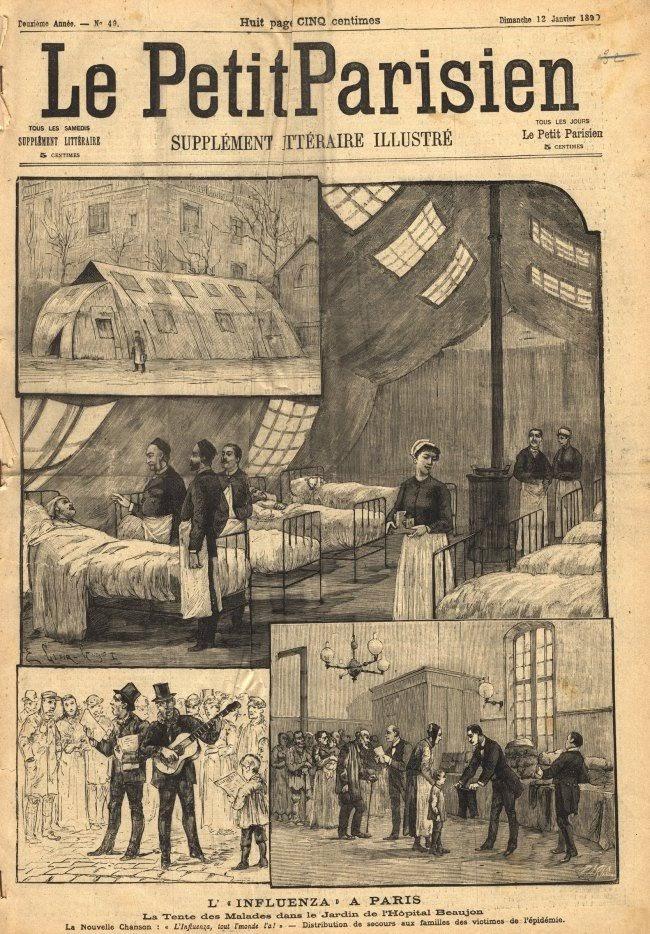 Tờ Le Petit Parisien đã đăng hình minh hoạ tình dịch cúm Nga tại Paris (Pháp) trên ấn bản ra ngày12/1/1890.