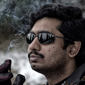 The Smoker by Soumyadip Maity - People Portraits of Men ( cigarette, sunglass, snow, smoker, india, dalhousie, man )