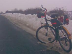 Photo: I was feeling a bit dwarfed by the snow as I cycled around.