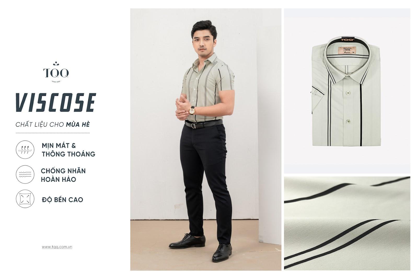 Vải Viscose mềm nhẹ nhàng và có độ thoáng khí cao, được các quý ông rất ưa chuộng vào mùa hè