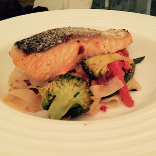 Rice Noodles with Grilled Vegetables and Grilled Salmon.