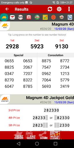 Live 4D Results ! (MY & SG) screenshot 1