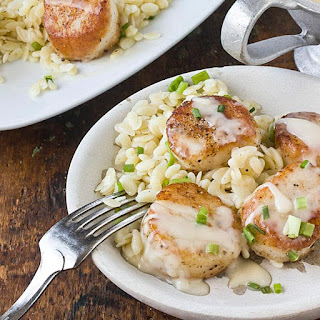 Scallops with White Wine Beurre Blanc & Lemon Orzo.
