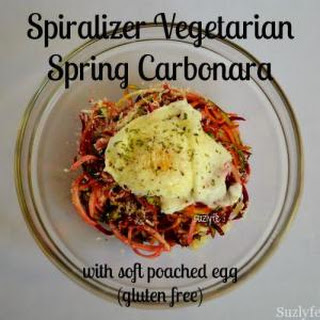 Spiralizer Vegetarian Carbonara with Soft Poached Egg (Gluten Free)